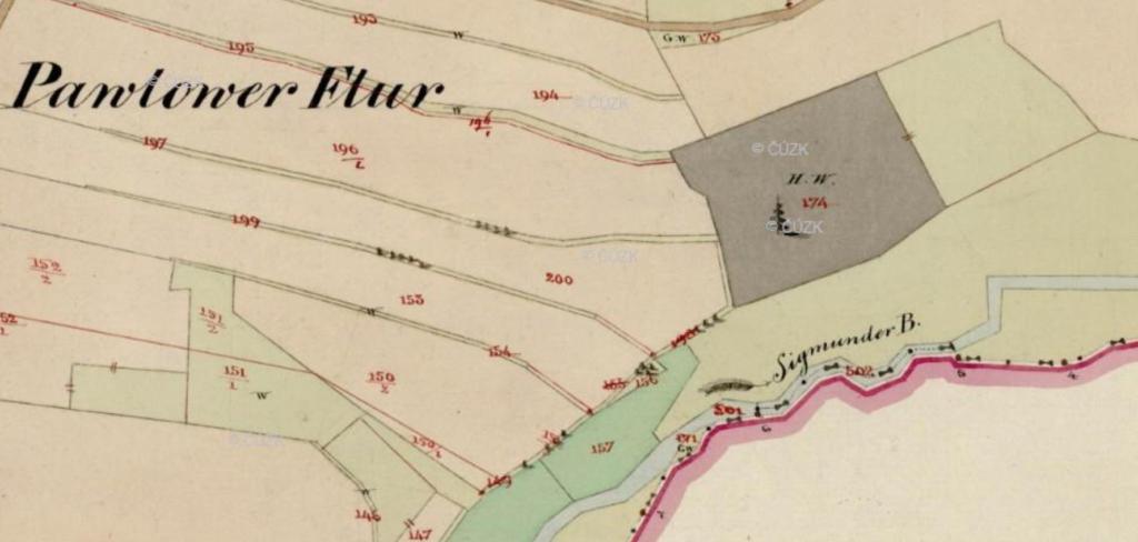 Na této mapě je Ostružná označená jako Sigmunder bach neboli Sigmundův potok